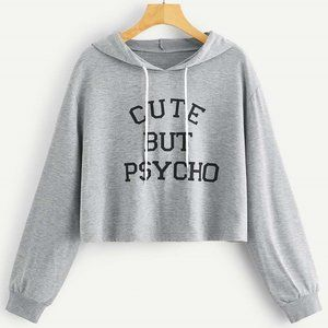 Tops - Graphic Oversize Cropped Hoodie Gray Size L